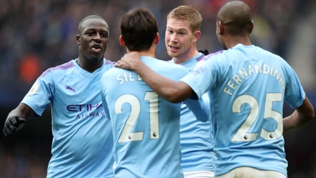 IT'S MY GOAL!: Kevin De Bruyne and David Silva light-heartedly contest the scoring rights!