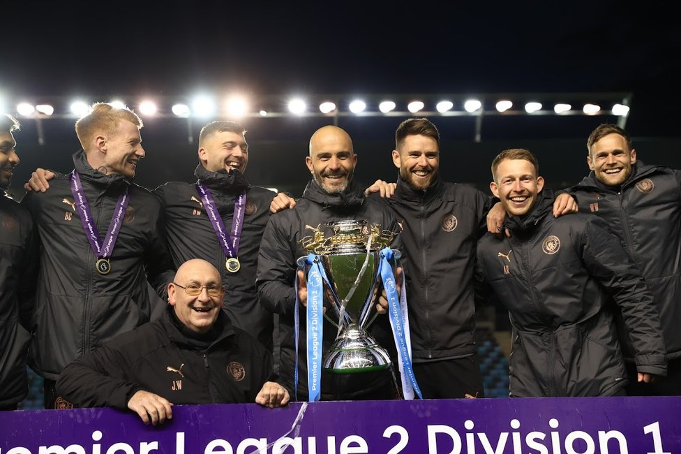 IN CHARGE : The coaching staff led by Enzo Maresca enjoy the celebrations.