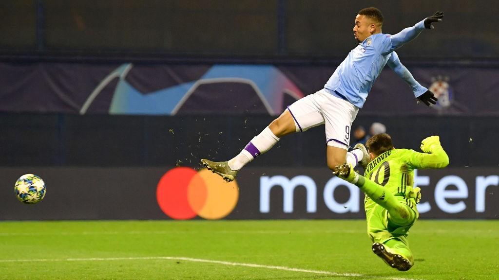 HAT-TRICK HERO : Dominik Livaković is powerless to stop Gabriel Jesus converting Benjamin Mendy's cross for his and City's third goal.