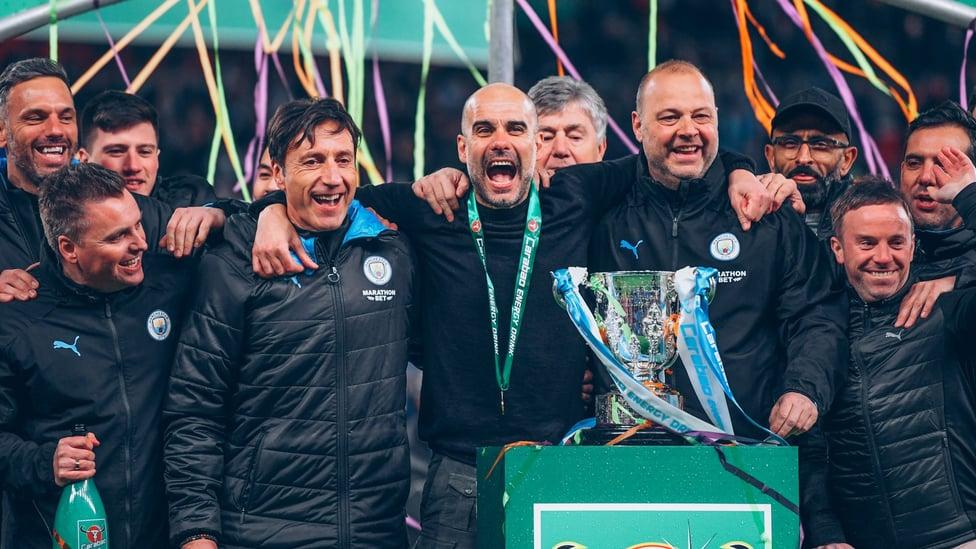 SAHABAT : Piala Carabao ketiga berturut-turut diamankan pada 1 Maret 2020 berkat kemenangan 2-1 atas Aston Villa di Wembley.