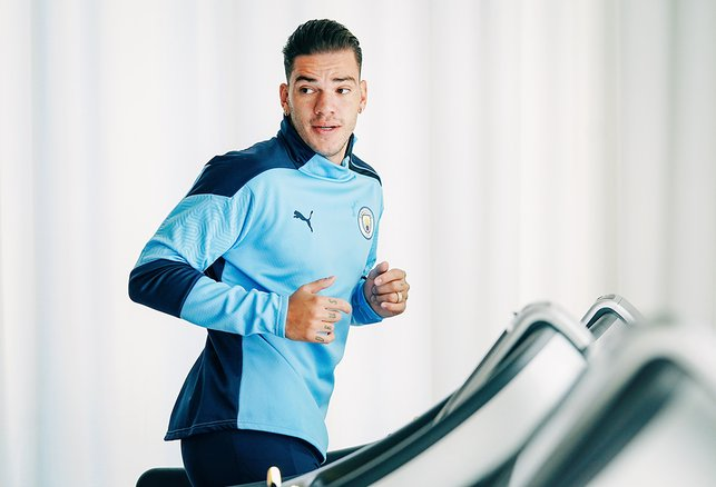JOG ON : Ederson gets his legs moving