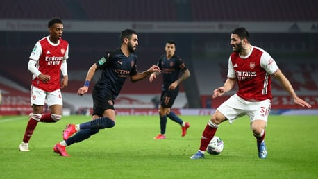 SLALOM: Riyad Mahrez works his magic on the flank