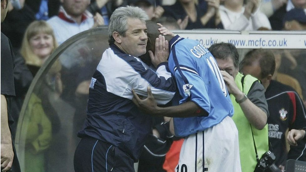 WELL DONE: Manager Kevin Keegan greets Shaun Goater after the striker's final City appearance