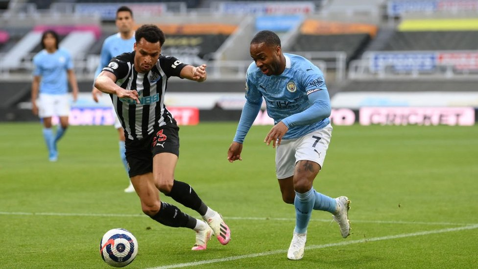 CAUSING A STER: Raheem Sterling shows Jacob Murphy a clean pair of heels