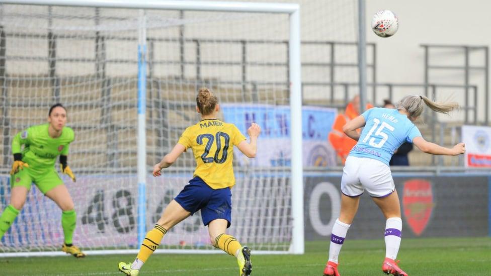 HEMP HEADER : Lauren angles a header into the top corner of the net