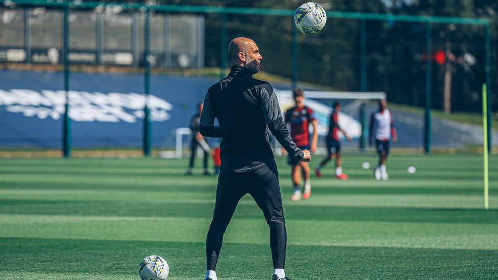 BOSSING IT: Pep Guardiola shows off his skills