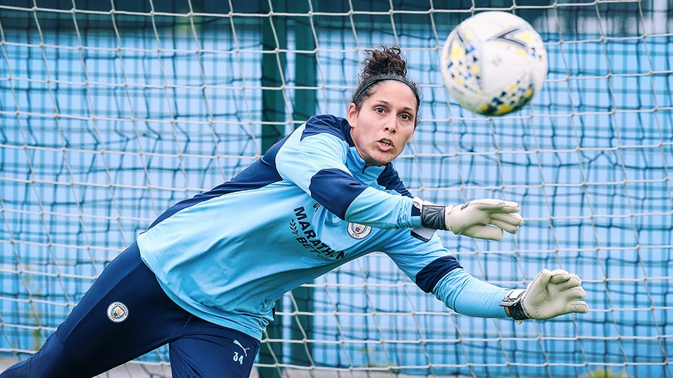 GLOVE STORY: Our French shot-stopper Karima Benameur Taieb sizes up the task in hand