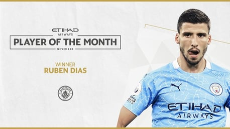 Dias voted  November Etihad Player of the Month