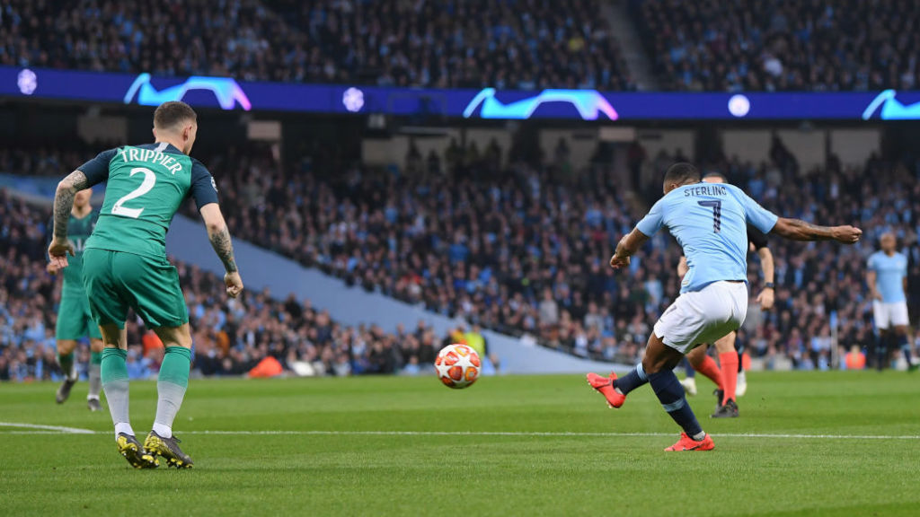 STRIKE ONE : Raheem Sterling opens the scoring with a quite stunning finish