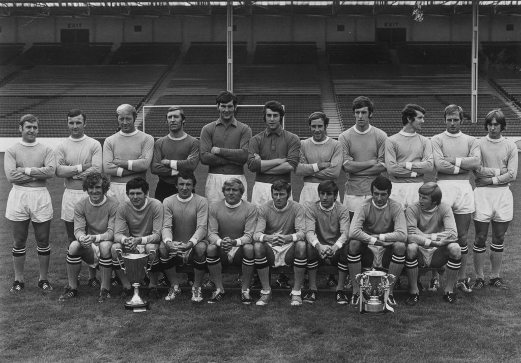DOUBLE DELIGHT : Joe Corrigan (second row five from the left) with the 1969/70 double winning side.