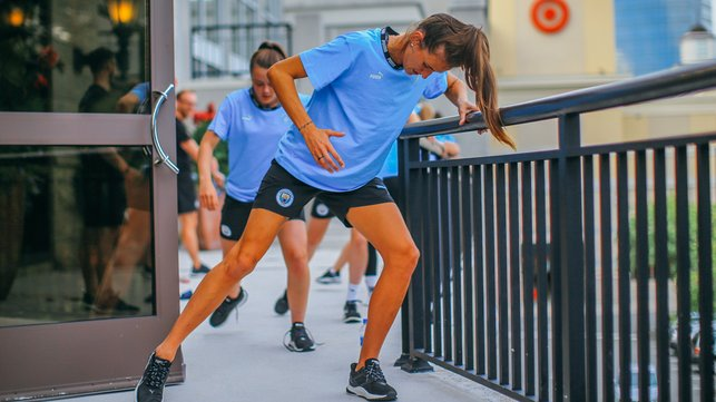 LEG DAY : Jill Scott leads the line during recovery