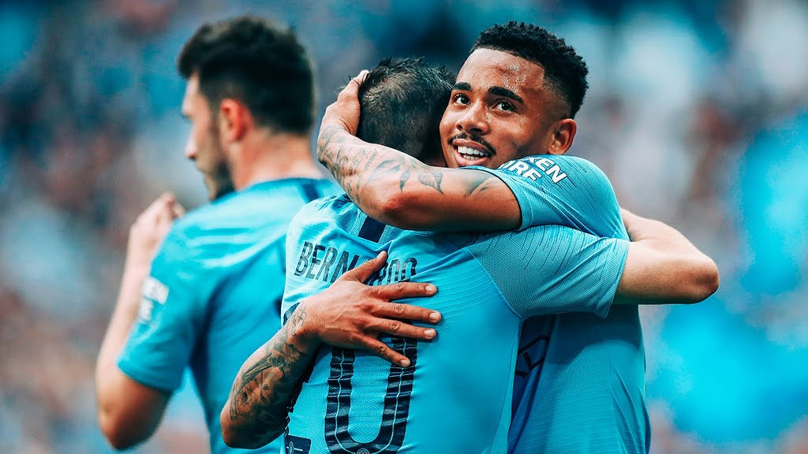 COME HERE: Jesus shares the love with Bernardo after City's fourth