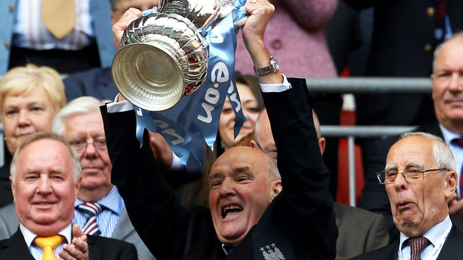 MAGIC MOMENT: Bernard lifts the FA Cup aloft after our memorable Wembley triumph over Stoke back in 2011