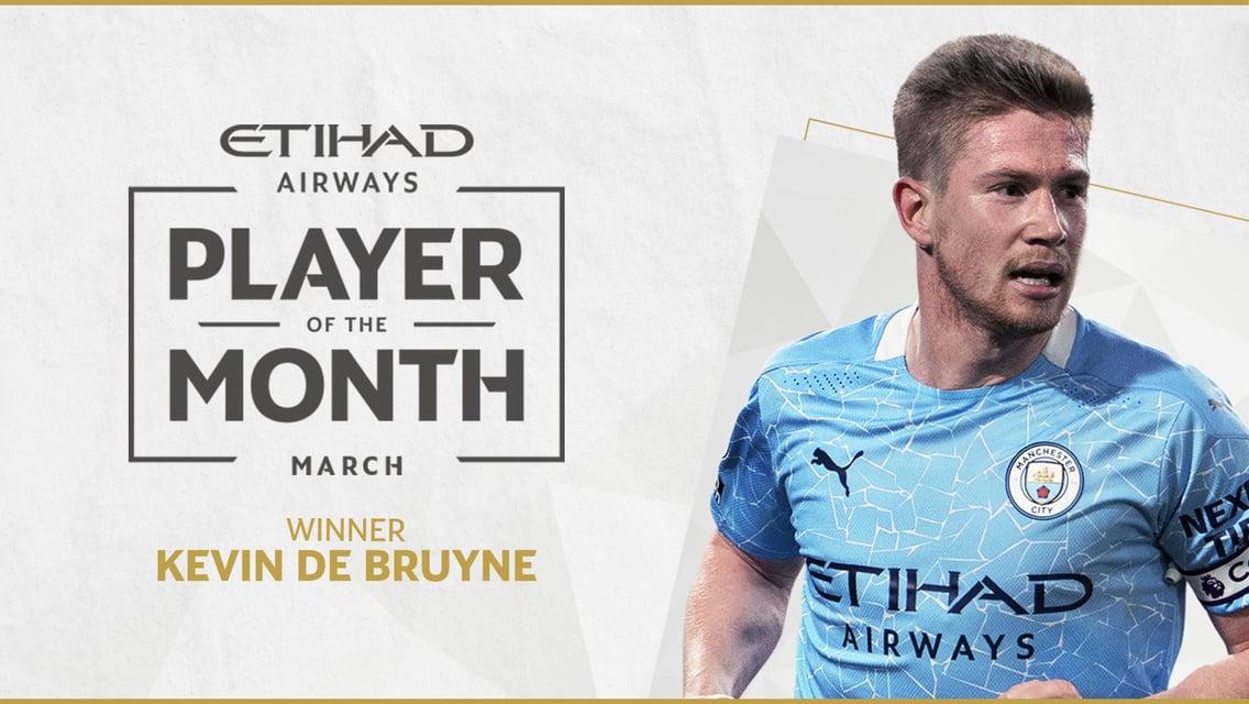 De Bruyne Terpilih Menjadi Pemain Terbaik Etihad Bulan Maret!