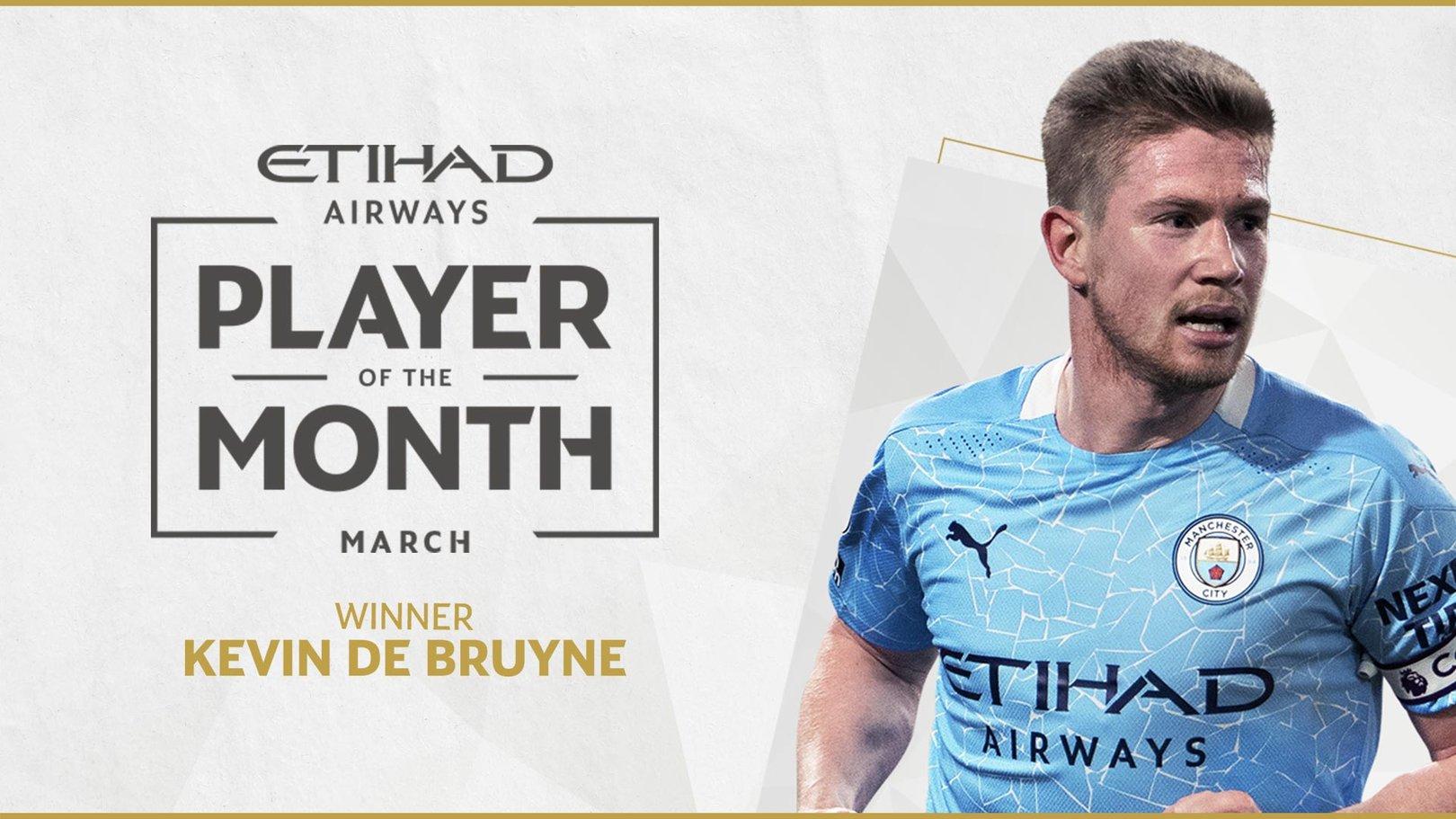 Kevin De Bruyne, mejor jugador de marzo