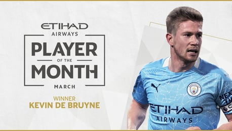 De Bruyne named Etihad Player of the Month