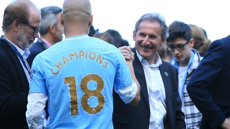 Txiki Begiristain celebrates City's 2017/18 Premier League title win