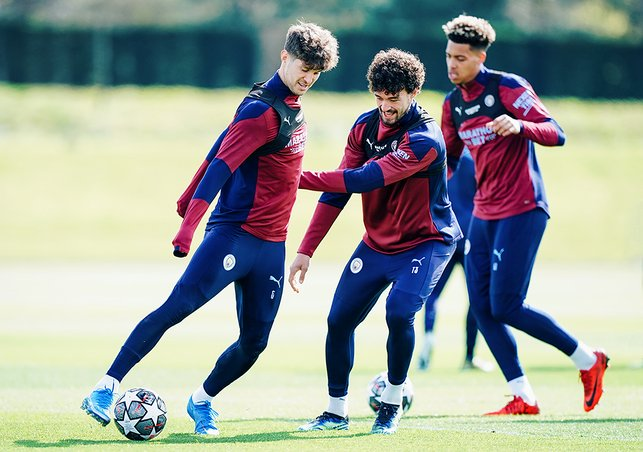 CENTRE OF ATTENTION: John Stones and Philippe Sandler vie for possession