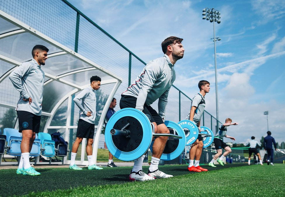 WEIGHT FOR IT: Patrick Roberts goes through a strength exercise