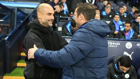 LEGENDS OF THE GAME: Pep Guardiola welcomes Frank Lampard back to his old stomping ground