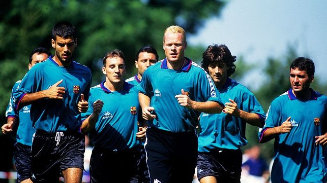BREAKTHROUGH  : Guardiola breaks into the Barcelona first team in 1990, ahead of a period of unprecedented success