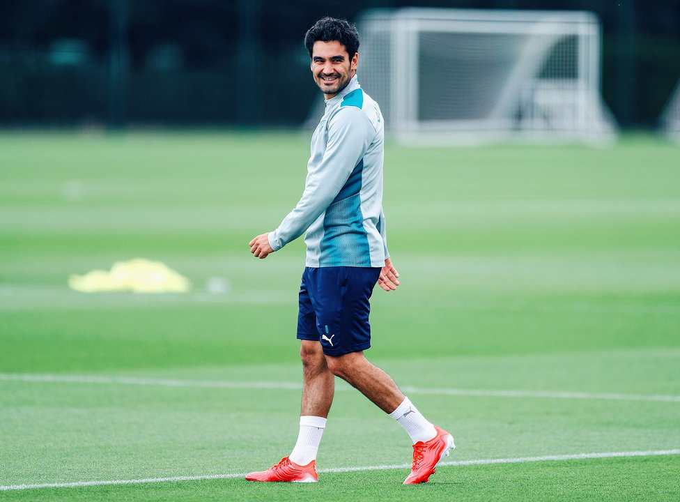 IT'S GOOD TO BE BACK: The smile says it all from Ilkay!