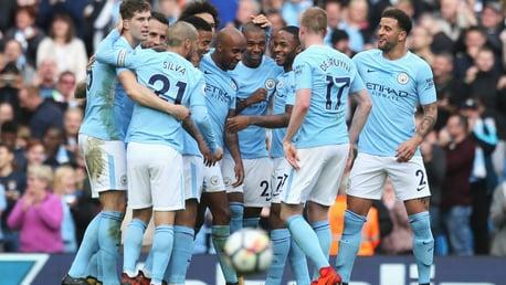 Manchester City 7-2 Stoke City 2017 group celebration.