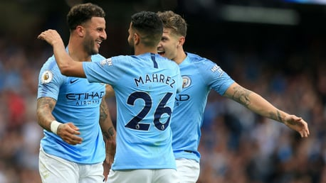 TRIO: Walker celebrates with John Stones and Mahrez after restoring our lead.