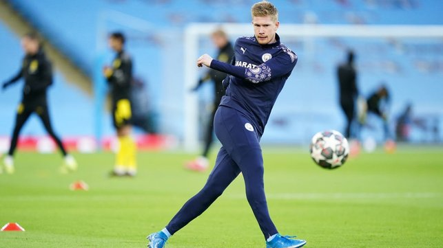 GAME FACE : De Bruyne fully focused during the pre-match warm up.