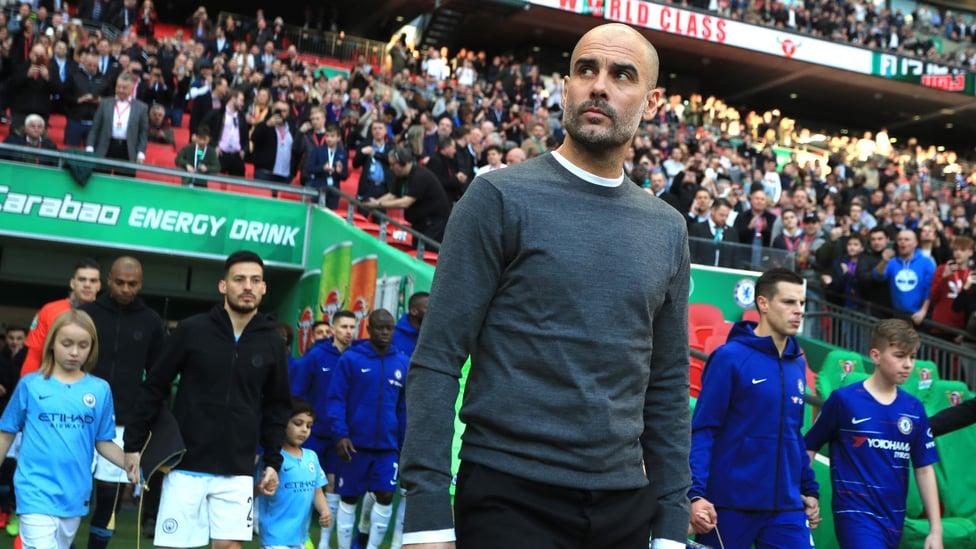 SELALU SIAP UNTUK PIALA : City mempertahankan Piala Carabao pada Februari 2019 berkat kemenangan adu penalti atas Chelsea.