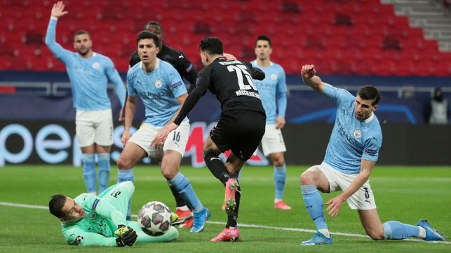 SHUT OUT: Ederson gets down well to thwart Ramy Bensebaini