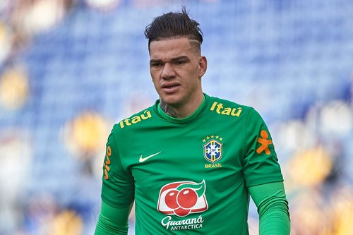 Ederson in action for Brazil