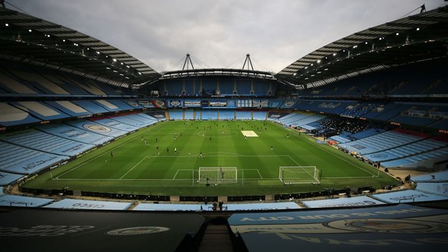 HOME : The Etihad looking as beautiful as always ahead of the clash with the Gunners.
