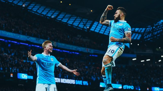BULLET HEADER : Breaking the deadlock against Norwich for his first City goal