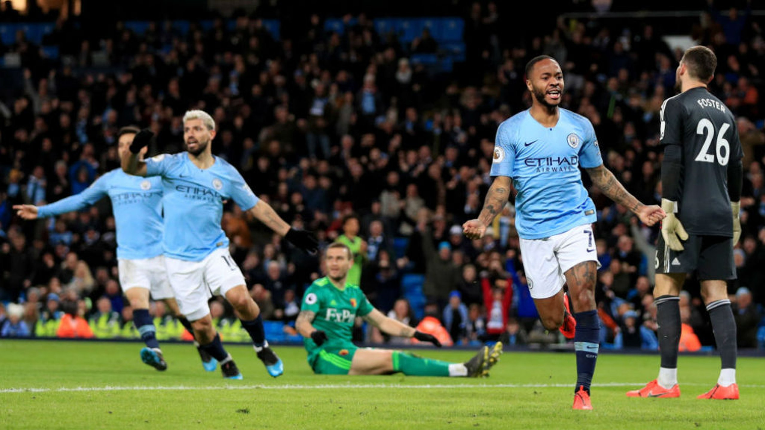 STRIKE ONE: Raheem Sterling is all smiles after netting the Blues' first goal