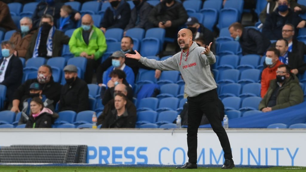 THE BOSS: Pep makes his voice heard on the touchline.