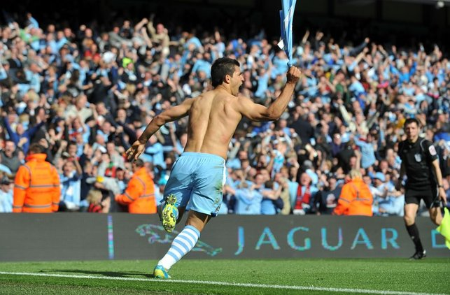 ICONIC : Wheeling away in delight after scoring the most famous goal in City history.
