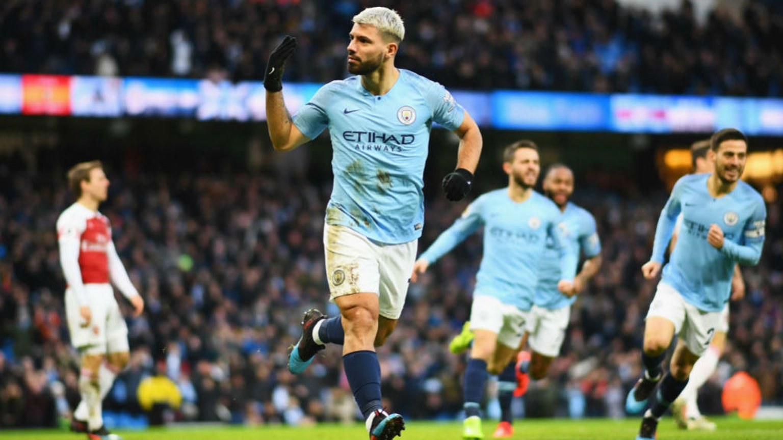 FIRE STARTER: Sergio Aguero heads City into the lead after just 50 seconds.