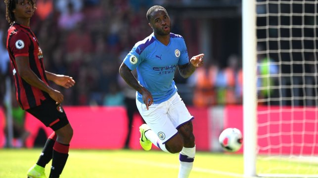 STERLING RECORD : Raheem scored his 11th goal in 10 games against the Cherries to double our lead.