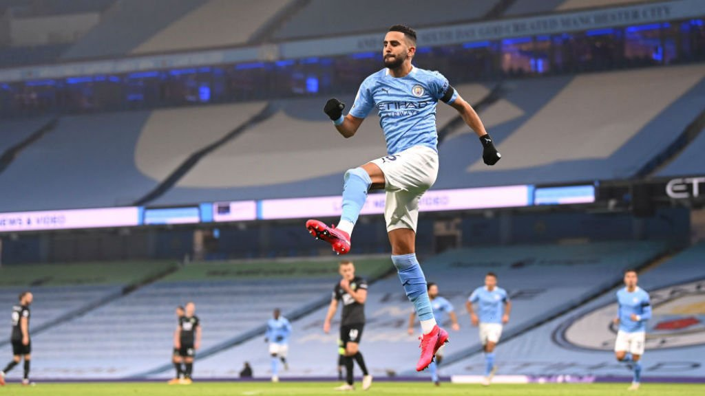 HIGH AND MIGHTY: Riyad Mahrez celebrates after his opener