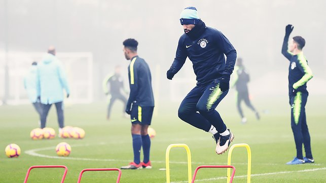 JUMP TO IT : Sergio Aguero is put through his paces during Thursday's training session