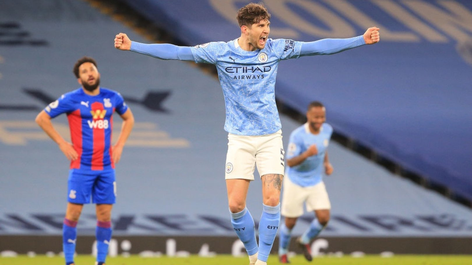 AT THE DOUBLE: Stones blasts in his second goal - Aguero would be proud of that!