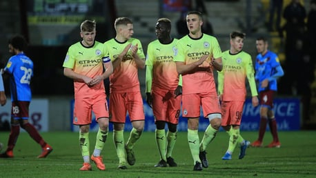 LEARNING CURVE: Tommy Doyle and his Under-21 team mates applaud the travelling City fans following our EFL Trophy loss to Scunthorpe United