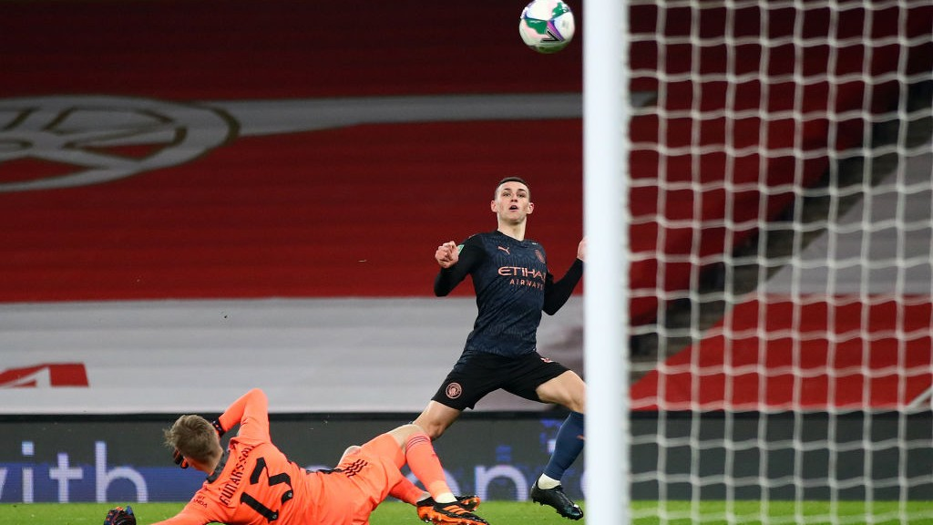 THREE CHEERS: Phil Foden finds the target to further extend our advantage