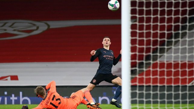 LOFTY AMBITIONS: Phil Foden chips in with a third