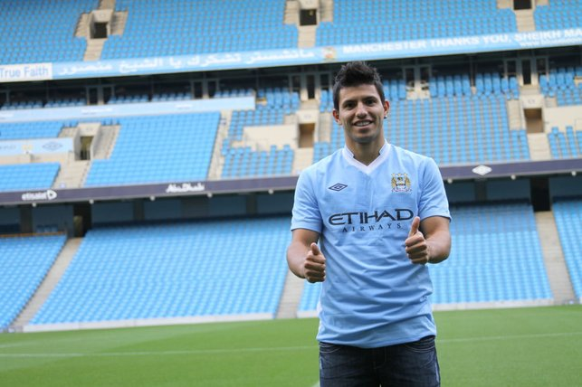 THUMBS UP : A first glimpse of the Etihad on signing day.