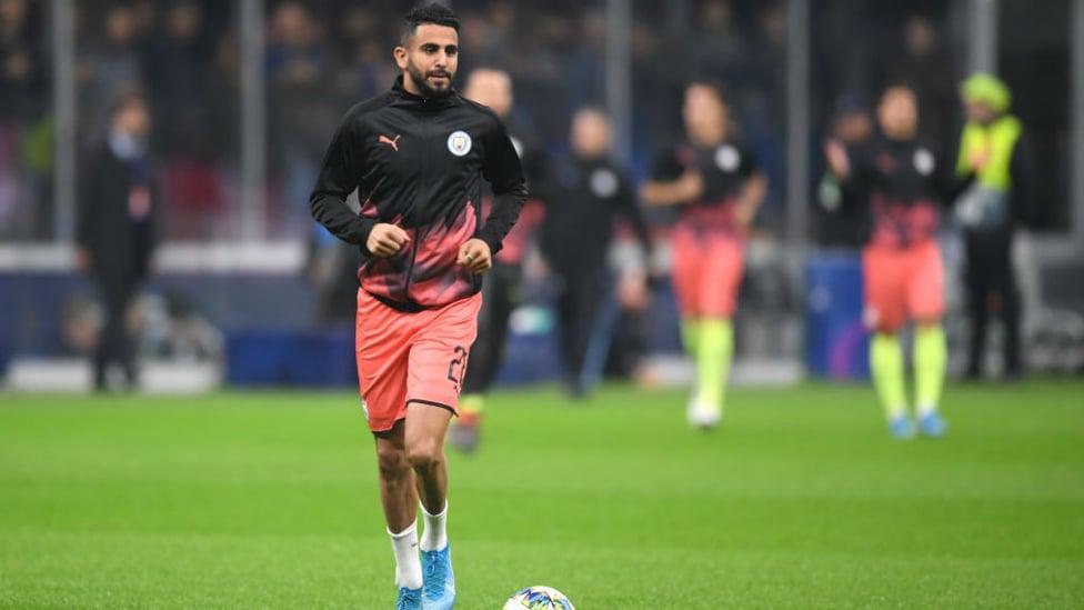 WARMING TO THE TASK : Riyad Mahrez goes through his pre-match routine