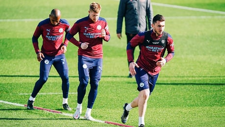 ACTION STATIONS: Aymeric Laporte, Kevin De Bruyne and Fernandinho go through their paces