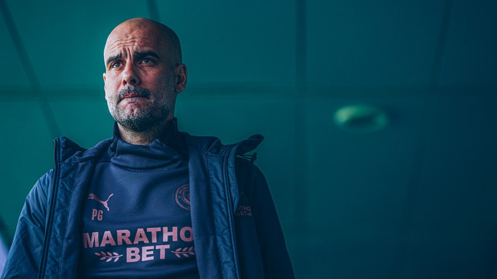 VILLA IN MIND: Pep Guardiola and his squad have a big midweek assignment at Aston Villa