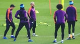 SMILES AND STRETCHES: The ever-cheerful Sergio Aguero